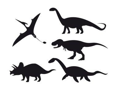 Set of dinosaur silhouettes isolated on white background.