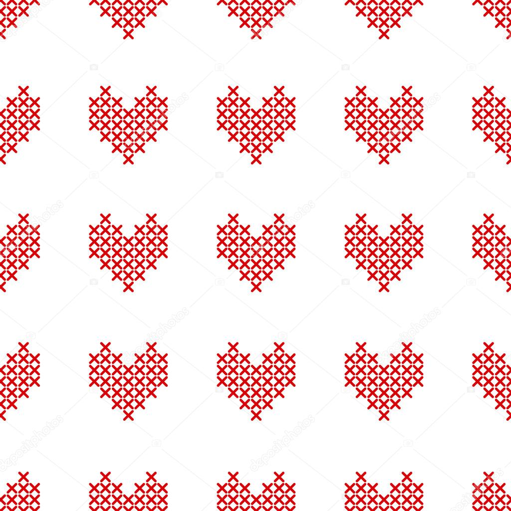 Patrón transparente con corazones punto de cruz sobre fondo blanco ...