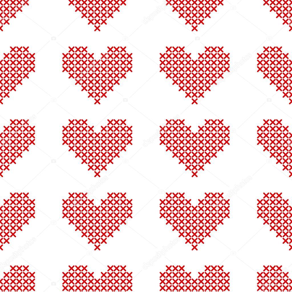 Patrón transparente con corazones punto de Cruz. Estilo del bordado ...