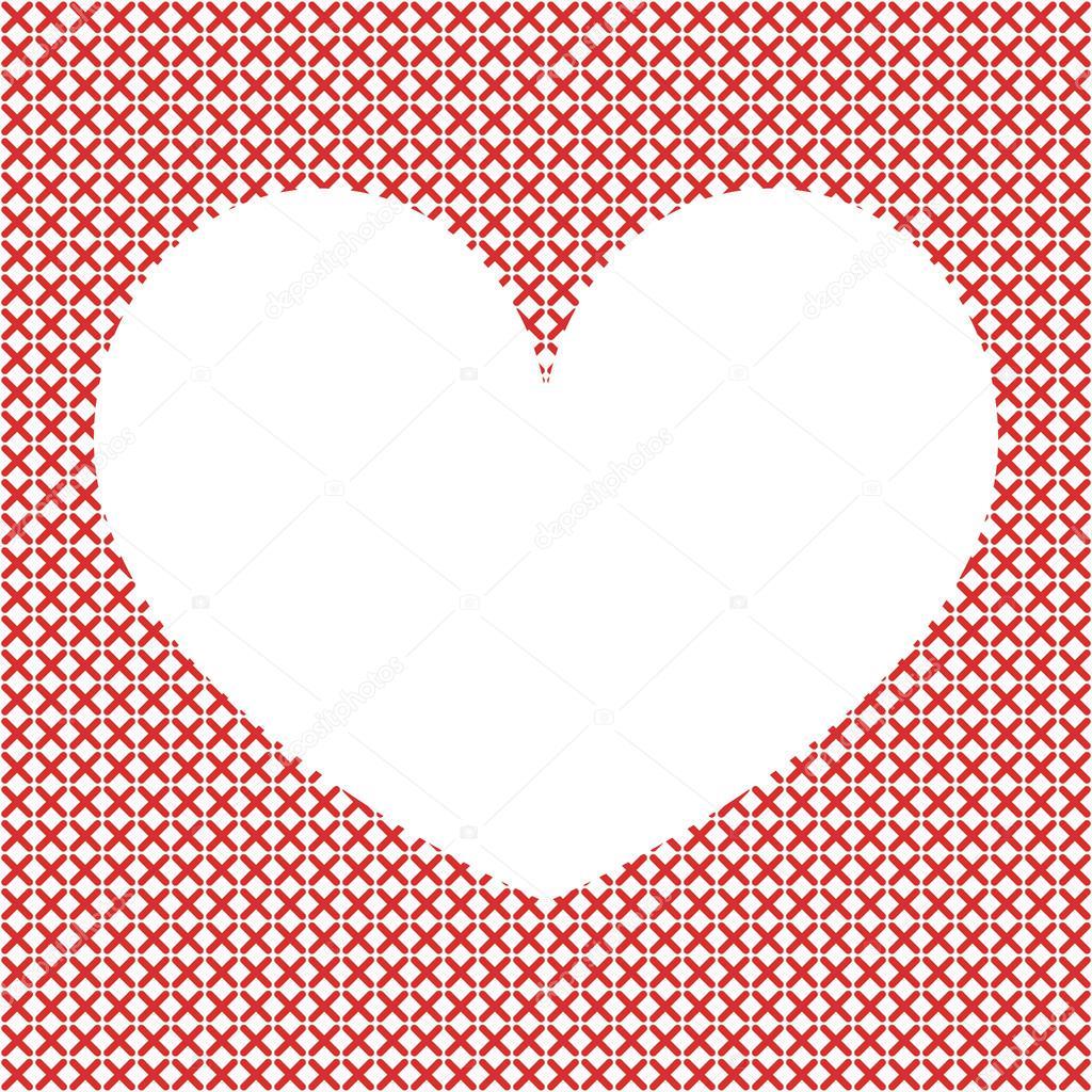 Fondo de punto de cruz con corazón — Archivo Imágenes Vectoriales ...