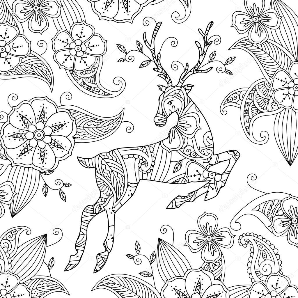 Página para colorear con fondo floral y hermoso ciervo corriendo ...