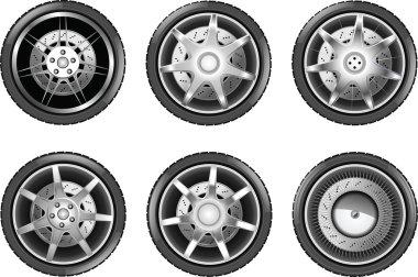 Vector car tire icons. Wheels