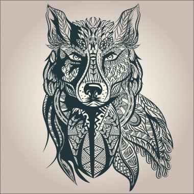 Ornamental decorative wolf, predator, pattern, Isolated