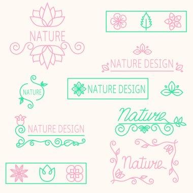 Vector set linear ornament elements eco-design