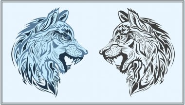 Graphic decorative wolves in black and blue colors