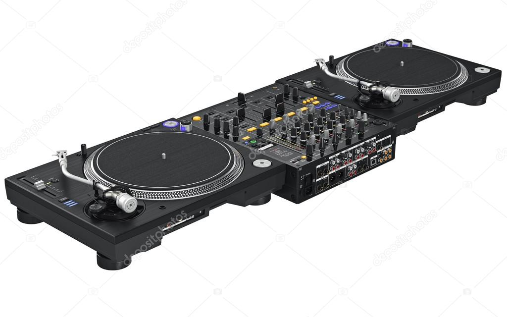 Dj set table mixing digital turntable to view control on rear panel. 3D graphic \u2014 Photo by ARTYuSTUDIO  sc 1 st  Depositphotos & Dj set table mixing digital turntable \u2014 Stock Photo © ARTYuSTUDIO ...
