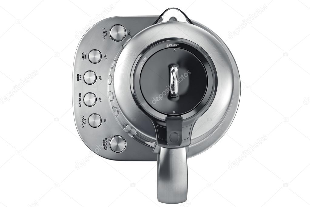 Elektrischer Wasserkocher Chrom Knöpfe, Ansicht von oben — Stockfoto ...