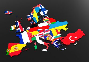 Europe. European flags. Countries of Europe. Black background stock vector