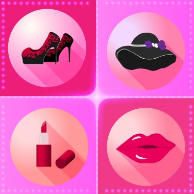 Flat women accesories icons
