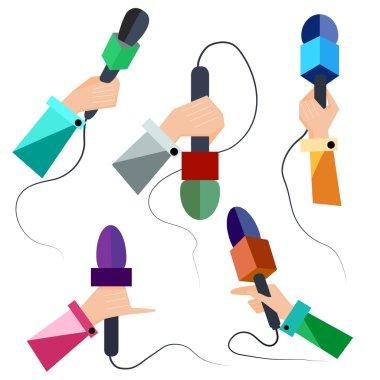 Microphones, hands, icons, symbols