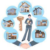 Žena realitní agent, stavební, klíče, house