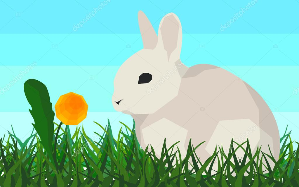 Rabbit on the grass, flower, seamless, animal and nature