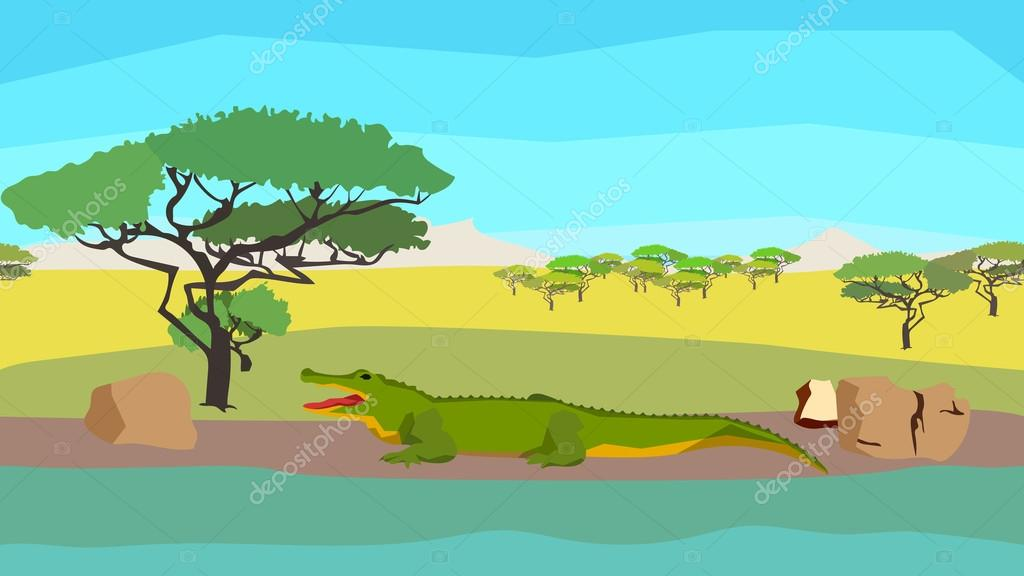 Crocodile near the river, seamless, animal, nature