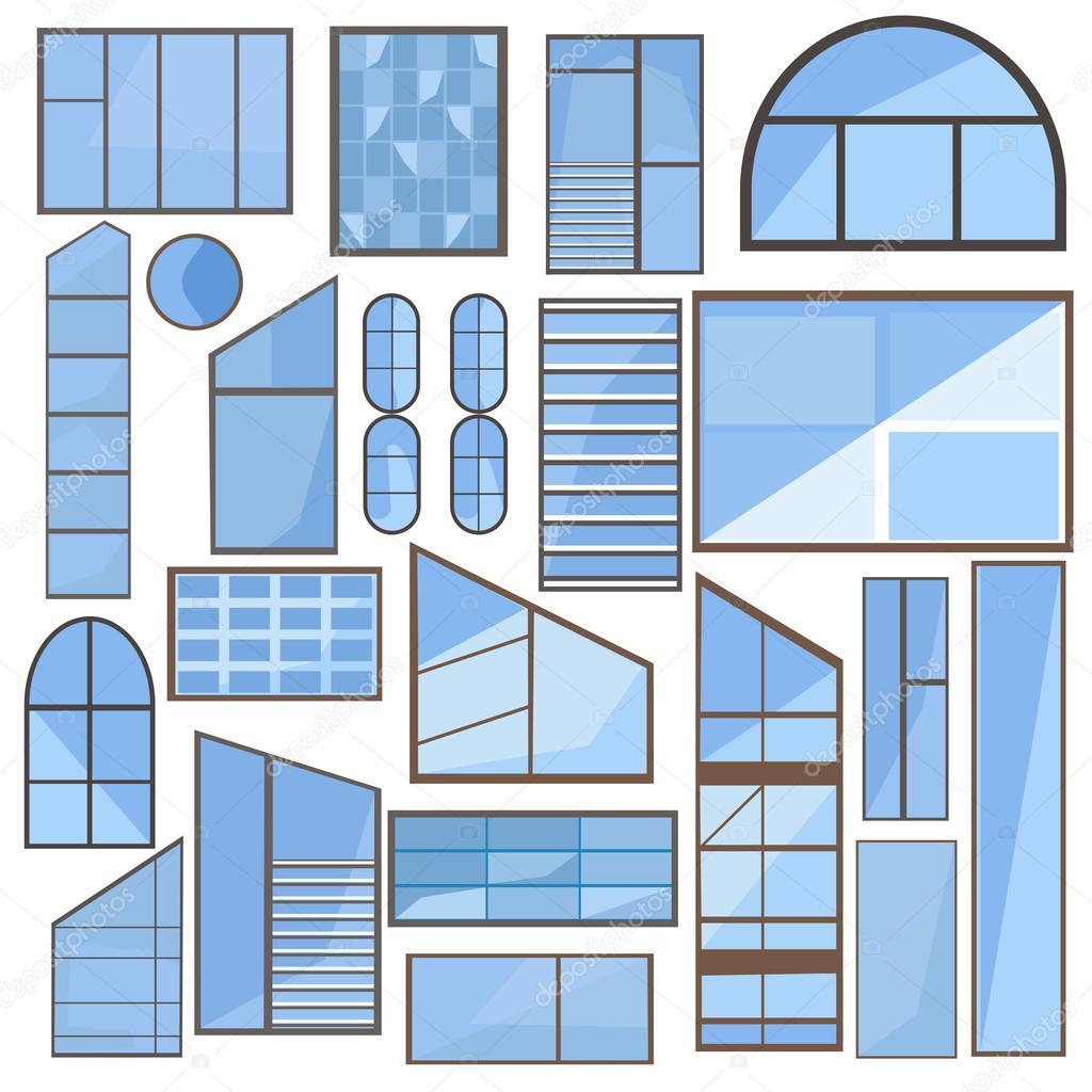 Sistema aislado ventana, vidrio, marco — Vector de stock ...