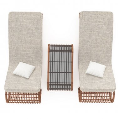 Rattan chaise lounge view from above 3d graphics
