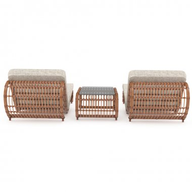 Rattan furniture rear view 3d graphics