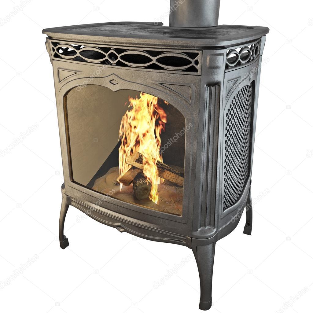 Chimenea moderna con gráficos en 3d fuego — Fotos de Stock ...