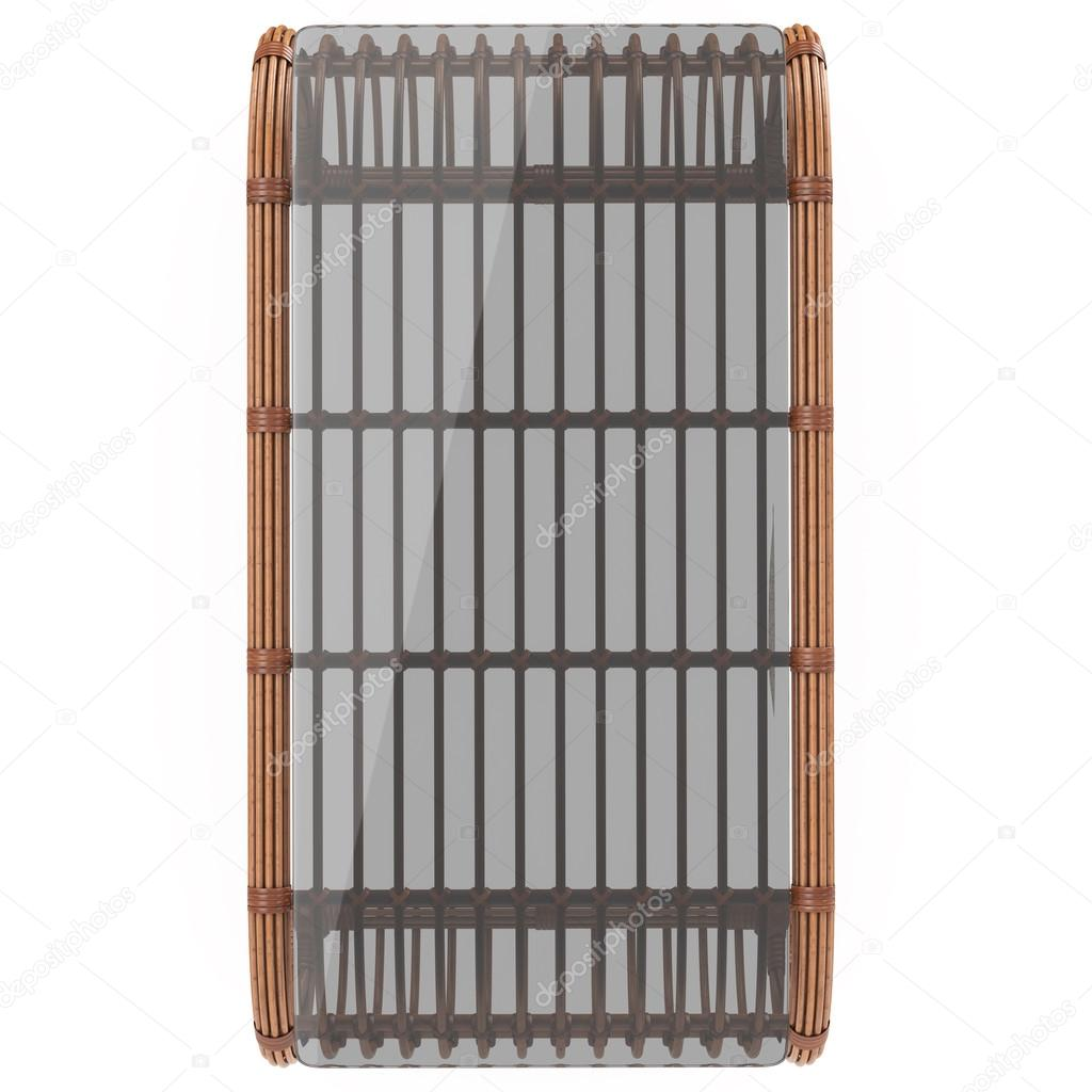 Rattan Dark Rattan Table With Glass Top On A White Background Isolated. 3D  Graphics U2014 Photo By ARTYuSTUDIO