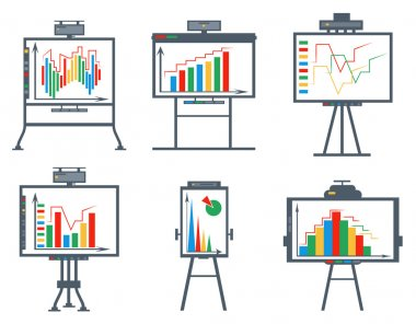 Set business chart, board, circles, lines, squares