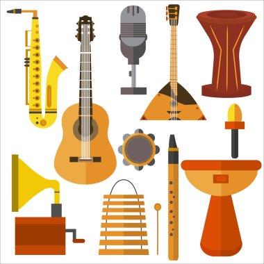 Set  musical instruments guitar, gramophone, trumpet, microphone, balalaika