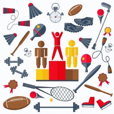 Rewarding athletes, sport goods racquet, weight, skates, a jump rope