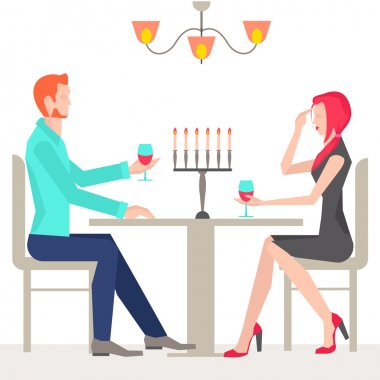 Romantic date, couples in love, in the restaurant with candles and wine. It can be used for advertising or design site design. Vector illustration clip art vector
