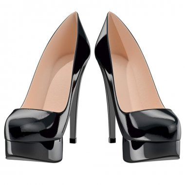 Womans black patent leather shoes on high heels, front view