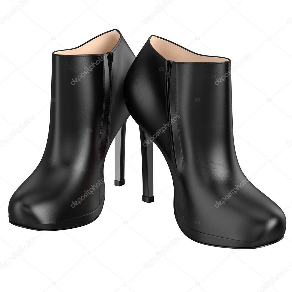 Leder Schwarze Stiefel Mit Reißverschluss. 3D Grafik Objekt