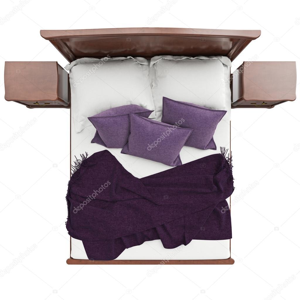 letto con cuscini e copertura di una coperta vista dall 39 alto foto stock artyustudio 90495556. Black Bedroom Furniture Sets. Home Design Ideas