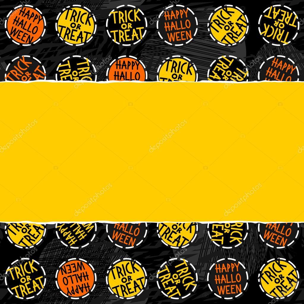 Happy Halloween Trick Or Treat White Black Yellow Orange Round Badges Autumn Holiday Seamless Pattern On Dark Background On Horizontal Torn Yellow Paper Seasonal Horizontal Seamless Border Stock Vector C Demonique 52120853