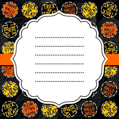 Happy halloween trick or treat white black yellow orange round badges autumn holiday colorful seamless pattern on dark background with blank white retro frame on orange ribbon seasonal card invitation