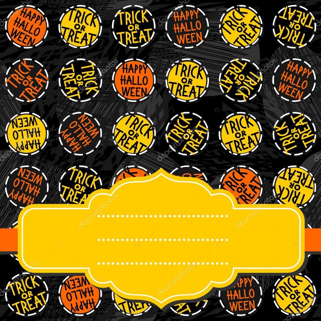 happy halloween trick or treat white black yellow orange round badges autumn holiday seamless pattern on - Black And Orange Halloween