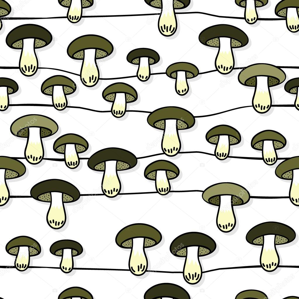 Green gray edible mushrooms autumn seasonal seamless pattern with horizontal lines on white background