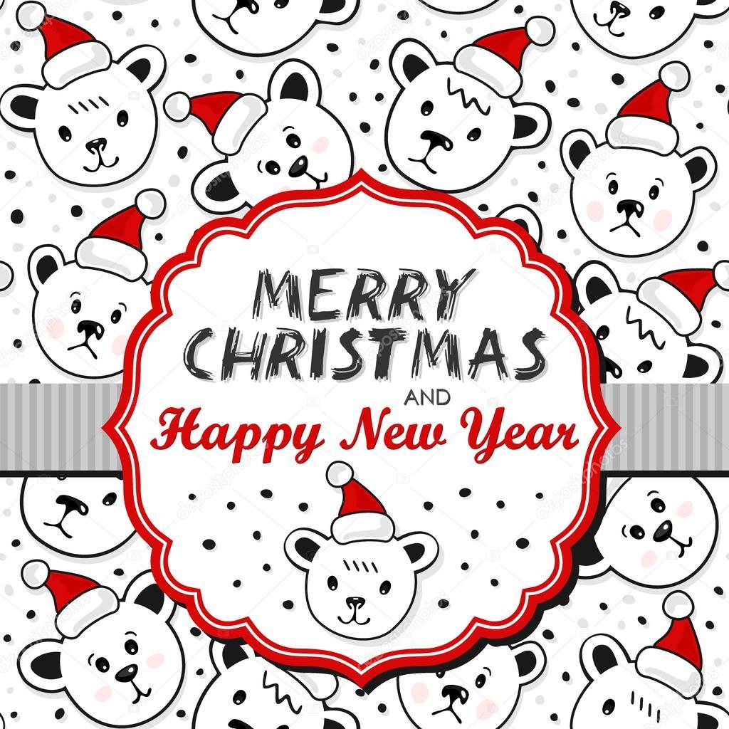 Eisbären in Santa Claus Hüte weihnachtskarte Winter Urlaub mit ...