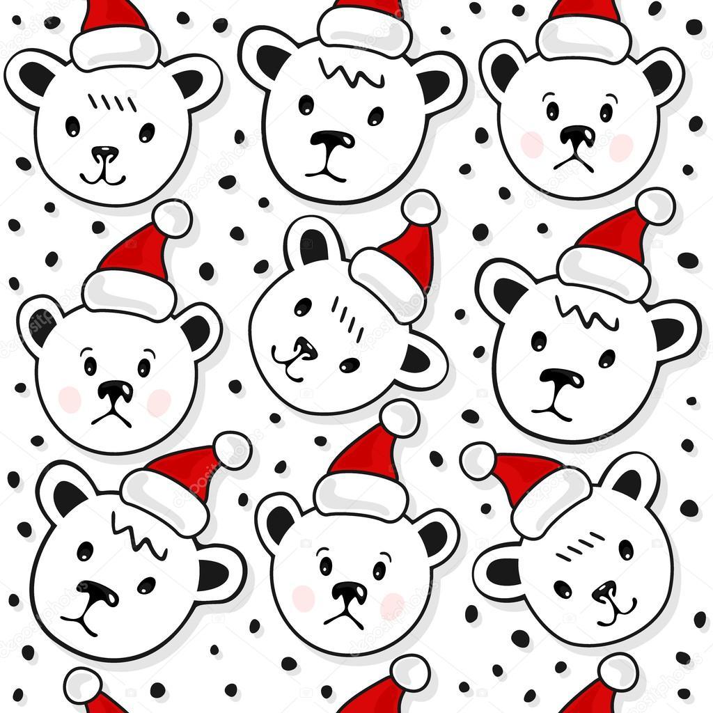 Imágenes: osos de navidad patrones | Osos polares en sombreros de ...