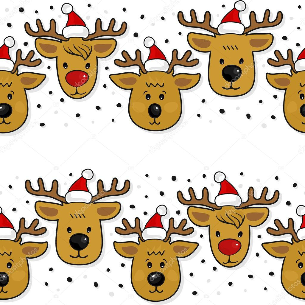 Renos con sombreros de Santa Claus Navidad vacaciones de invierno ...