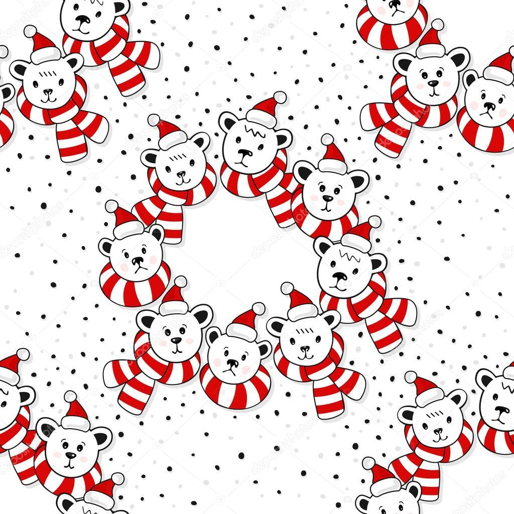Cabezas de oso polar en Santa Claus sombreros y bufandas coloridas ...