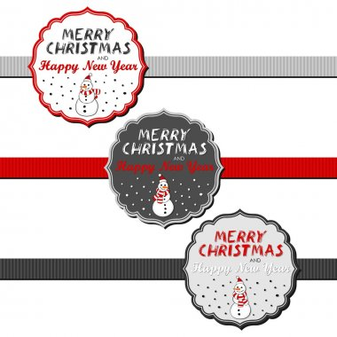 Snowmen in Santa Claus hats Christmas with vintage frame and ribbon and Christmas wishes in English winter holidays sticker set isolated on white background