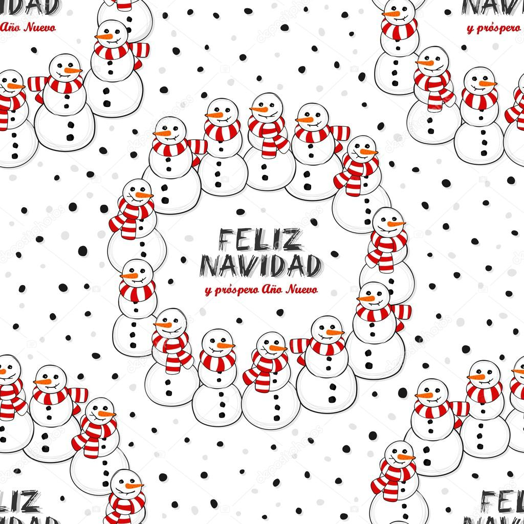 Christmas Wishes In Spanish.Happy Snowmen With Stripped Scarfs Wreath Christmas Winter