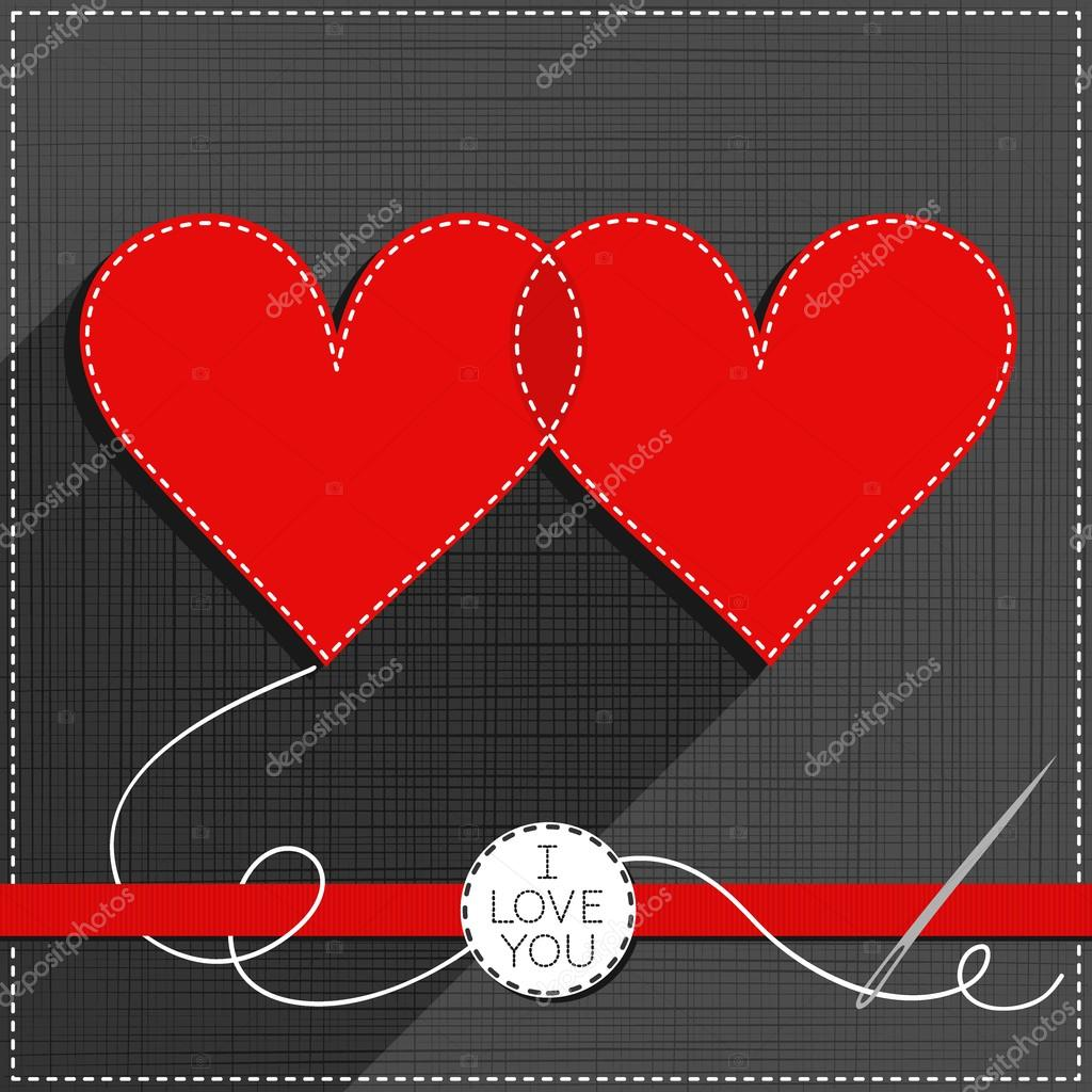 Two Hearts In Love Lovely Sewed Romantic Valentines Day Card On Gray
