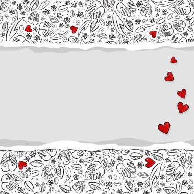 secret garden monochrome spring summer floral seasonal messy seamless pattern with red hearts on white with horizontal torn paper