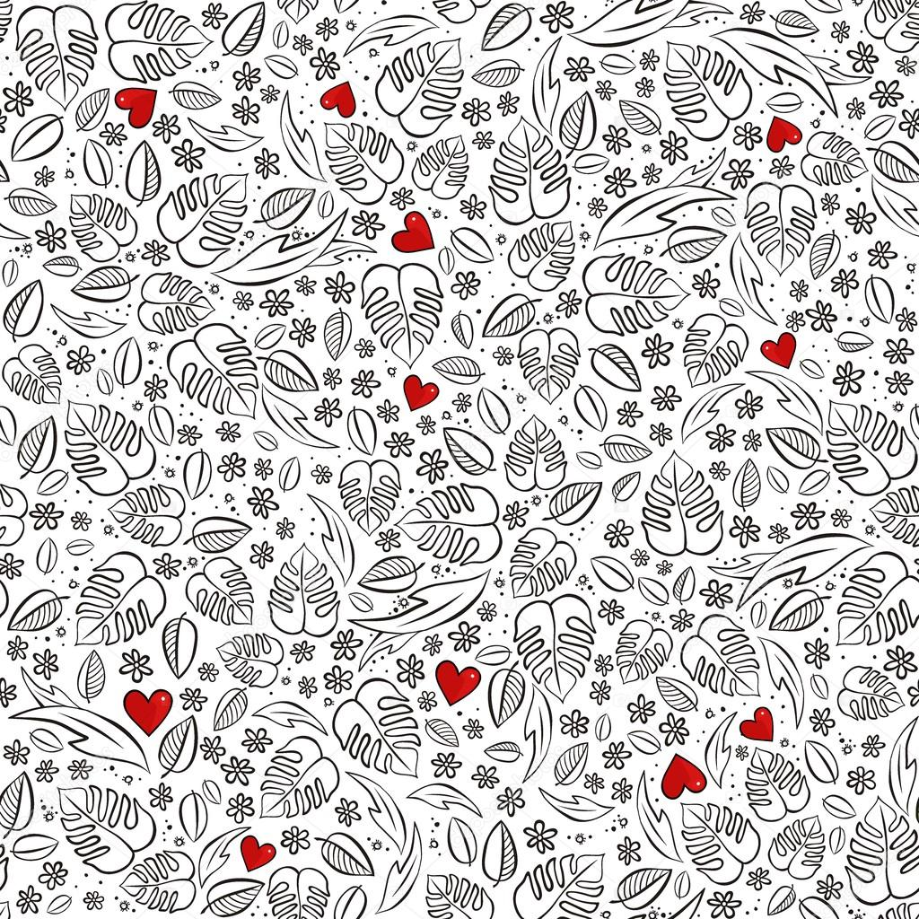 secret garden monochrome spring summer floral seasonal messy seamless pattern with red hearts on white