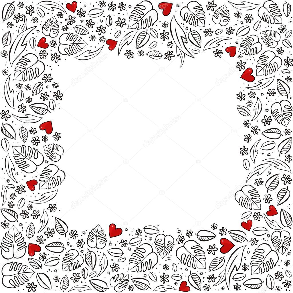 secret garden square frame with red hearts monochrome spring summer floral seasonal messy card on white