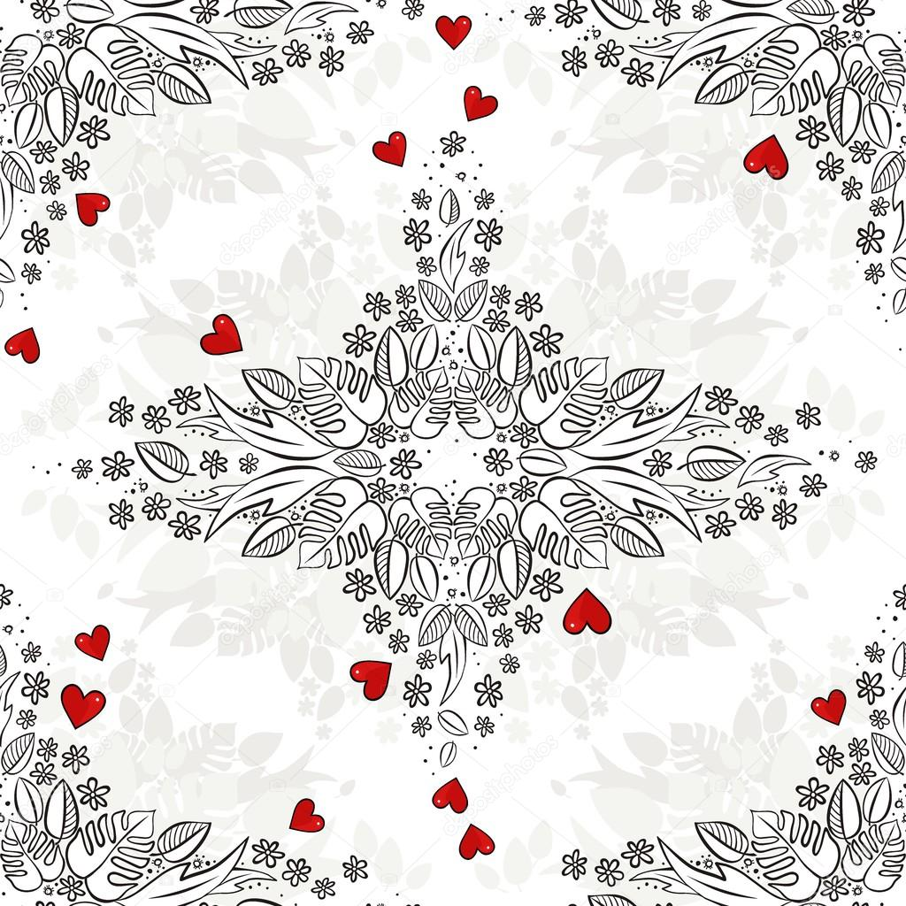 secret garden monochrome spring summer floral seasonal seamless pattern with red hearts on white