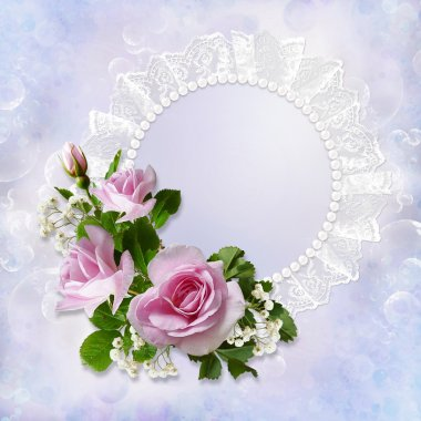 Gorgeous gentle background with roses, pearls and lace with space for photo or text