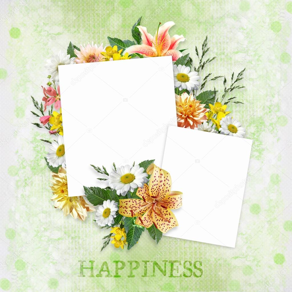 Green background with beautiful flowers and frames with space for congratulatory background with flowers and frames photo by glaz izmirmasajfo