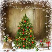 Fotografie Weihnachtsgrüße-Hintergrund mit Weihnachtsbaum und Geschenke