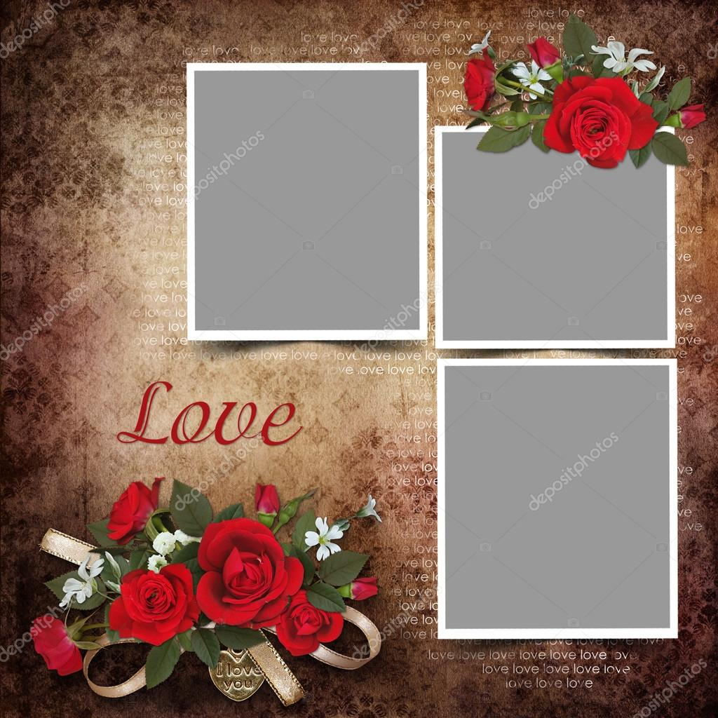 Vintage love background with frames and roses stock photo glaz vintage love background with frames and roses stock photo jeuxipadfo Gallery