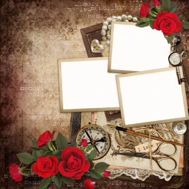 Frames with retro decoration and red roses on vintage background