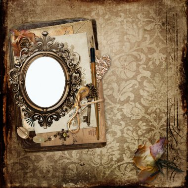 Vintage background with frame and old letters, faded roses